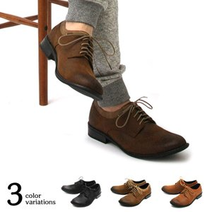 クラッキングレザーレースアップシューズ フェイクレザー アンティーク加工 レース シューズ 靴 メンズ カジュアルシューズ attention-store
