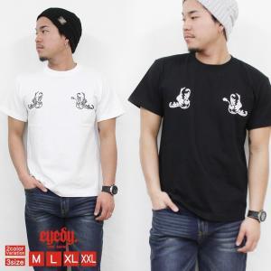 Tシャツ メンズ 半袖 ブランド EYEDY アイディー ストリート アメカジ サーフ系 黒 白 大きいサイズ XL XXL プリント ロゴ /3045/|attention-store