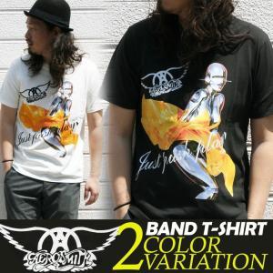 Tシャツ バンドTシャツ ロック Aerosmith エアロスミス アメカジ ブランド メンズ 半袖 ロゴT 大きいサイズ S M L XL 白 黒 カットソー クルーネック|attention-store