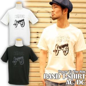 Tシャツ バンドTシャツ ロック AC/DC アメカジ ブランド メンズ 半袖 プリント ロゴT 大きいサイズ S M L XL 白 黒 カットソー クルーネック|attention-store