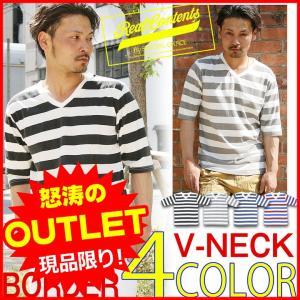 Vネック 5分袖Tシャツ ボーダーTシャツ メンズ リアルコンテンツ REALCONTENTS ストリート系 ファッション M L XL|attention-store