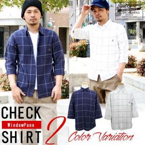 シャツ メンズ ネルシャツ チェックシャツ 7分袖 カジュアルシャツ 白シャツ アメカジ REALCONTENTS リアルコンテンツ 大きいサイズ ストリート 2017 春 新作|attention-store