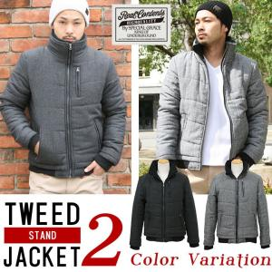 ジャケット メンズ 中綿ダウン アウター ブルゾン 中綿ジャケット スタンドカラー ツイード リアルコンテンツ M L XL XXL 大きいサイズ|attention-store