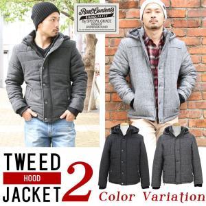 ジャケット メンズ 中綿ダウン アウター ブルゾン 中綿ジャケット フード ツイード リアルコンテンツ REALCONTENTS ストリート系 M L XL XXL 大きいサイズ|attention-store