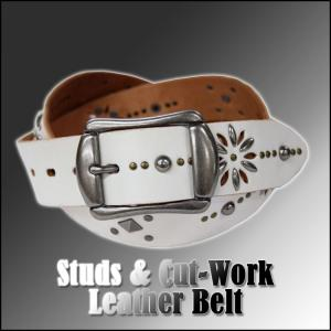 Studs and Cut-work Leather Belt / スタッズベルト|attention-store