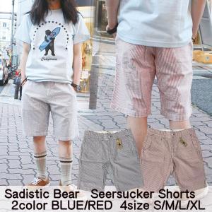 メンズ パンツ シアサッカーショートパンツ attention-store