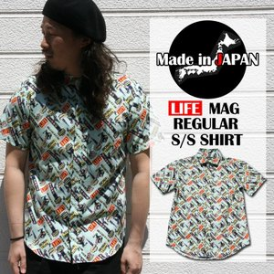 シャツ 半袖 日本製 国産 総柄 ホテル LIFE LIFEMAG メンズ カジュアルシャツ ワークシャツ ミリタリーシャツ M L LL ミント 緑 柄シャツ attention-store
