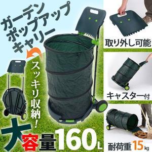 キャスター付きゴミ箱 屋外 大容量 160L ちりとり付き 折りたたみ 伸縮 簡単 移動 女性 ガーデンバケツ 大型 収納 庭 掃除 分別 持ち運び