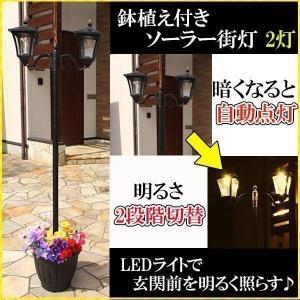 置いておくだけでおしゃれなソーラー街灯 高さが約180cmもあるため、本格的な街灯の役割を発揮し、高...