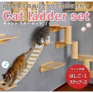 キャットウォーク 猫用 吊り橋 キャットステップ 壁付け スリム 壁 手作り 猫 棚板 棚 キャットタワー 木製 木 diy ベッド 足場 猫家具の画像