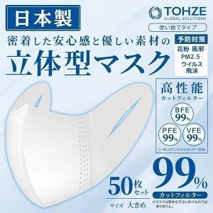 マスク 在庫あり 日本製 50枚セット 立体型 即納 使い捨て 大人用 男性 女性 男女兼用 不織布 大きめサイズ 白 ホワイト 花粉 3層構造 高性能|attention8-25