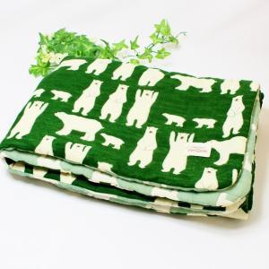 ガーゼブランケット 8重ガーゼブランケット ハンドメイド 白クマ しろくま シロクマ 動物 グリーン 出産祝 おくるみ M|atticotti