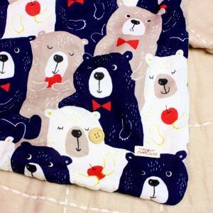 ガーゼブランケット 8重ガーゼ 大きい クマ ネイビー  くま 熊 ハンドメイド 動物 出産祝 おくるみ ひざかけ タオル M|atticotti|02