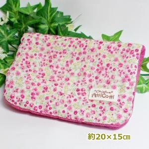 約20×15cm ガーゼハンカチ 8重ガーゼ ハンドメイド 細かい 花 フラワー ピンク タオル プレゼント 祝 誕生日|atticotti