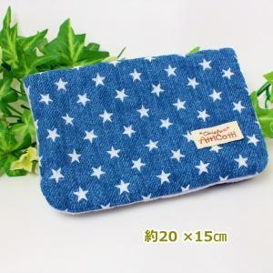 約20×15cm ガーゼハンカチ 8重ガーゼ ハンドメイド スター 星 デニム風 ブルー タオル プレゼント 使いやすい大きさ 祝 誕生日 母の日 お礼|atticotti