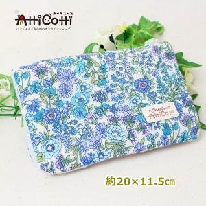 約20×15cm 8重ガーゼハンカチ ハンドメイド リバティ風 フラワースタイル 花 ブルー タオル プレゼント 使いやすい大きさ 祝 誕生日 母の日 お礼|atticotti