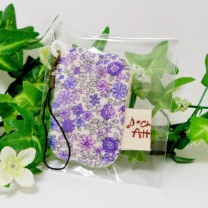 ガーゼハンカチ 8重 ハンドメイド ストラップ 小花 パープル|atticotti