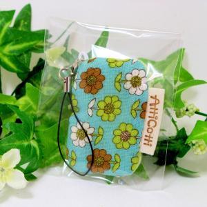 ガーゼハンカチ 8重 ハンドメイド ストラップ YUWA北欧風花柄 ミント|atticotti