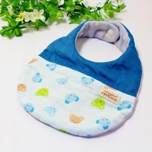 ガーゼスタイ 8重ガーゼ ハンドメイド カラフル クマ 顔 ブルー よだれかけ 赤ちゃん 出産祝い プレゼント|atticotti