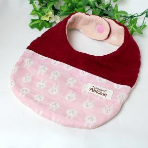 ガーゼスタイ 8重ガーゼ ウサギ 顔 ピンク うさぎ よだれかけ エプロン まえかけ 赤ちゃん 安心 出産祝い 肌にやさしい 柔らかいスタイ 新生児|atticotti
