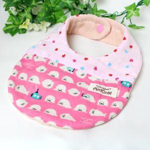 ガーゼスタイ 8重ガーゼ 潜水 アザラシ ハート ピンク よだれかけ エプロン 赤ちゃん 安心 出産祝い 肌にやさしい 柔らかいスタイ 新生児|atticotti