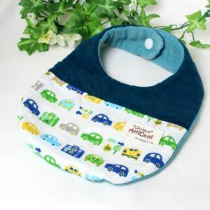 ガーゼスタイ 8重ガーゼ かわいい 車 くるま ブルー よだれかけ まえかけ エプロン 赤ちゃん 安心 出産祝い 肌にやさしい 柔らかいスタイ 新生児|atticotti