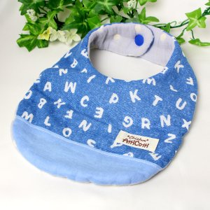 ガーゼスタイ 8重ガーゼ アルファベット ブルー よだれかけ まえかけ エプロン 赤ちゃん 安心 出産祝い 肌にやさしい 柔らかいスタイ 新生児|atticotti