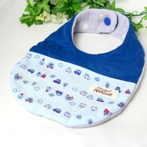 ガーゼスタイ 8重ガーゼ 車 お出かけ くるま ブルー よだれかけ まえかけ エプロン 赤ちゃん 安心 出産祝い 肌にやさしい 柔らかいスタイ 新生児|atticotti