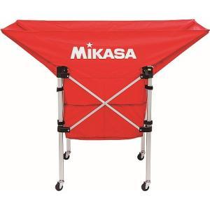 [MIKASA]ミカサ 携帯用折り畳み式ボールカゴ(舟型) フレーム・幕体・キャリーケースの3点セット (AC-BC210-R) レッド[取寄商品]