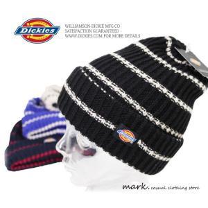 【 Dickies 】ディッキーズざっくり編み ボーダーニットキャップワッチ ビーニー( Fフリーサイズ) auc-mark