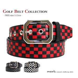 スクエアミラーバックル編み込みブロックチェックベルト (フリーサイズ 長さ切断可能)ゴルフに人気!!|auc-mark