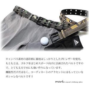 迷彩柄 カモフラ キャンバス素材Wピンアイレットデザインベルト全2色(フリーサイズ 長さ切断可能)ゴルフに人気!!|auc-mark|06