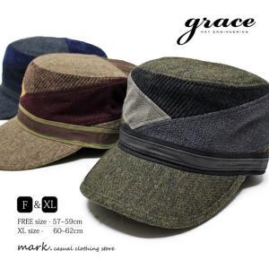 grace / グレース SLANT WORK CAP 大きいサイズ対応 切替え ワークキャップ メンズ レディース キャップ 帽子 ゴルフ カジュアル 秋 冬 FREE フリーサイズ XL ビ|auc-mark