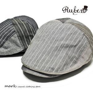 RUBEN /ルーベン STRIPE PATCH HUNTING パッチ ハンチング メンズ レディース キャップ 帽子 パッチワーク ゴルフ ゴルフキャップ カジュアル FREE フリーサイズ|auc-mark