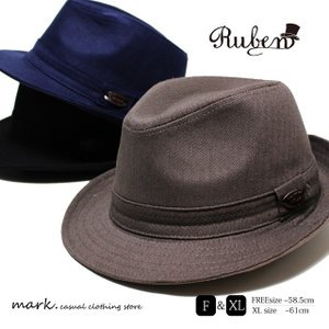 RUBEN/ルーベン 大きいサイズ対応 TWILL HERRING BONE HAT/ツイル ヘリンボーンハット 中折れハット ゴルフ|auc-mark