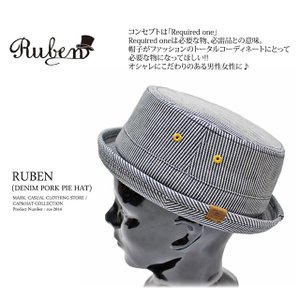 RUBEN/ルーベン DENIM PORK PIE HAT デニム ポークパイハットメンズ レディース 帽子 サイズ調節付/XL|auc-mark|02