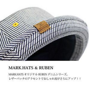 RUBEN/ルーベン DENIM PORK PIE HAT デニム ポークパイハットメンズ レディース 帽子 サイズ調節付/XL|auc-mark|03
