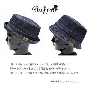 RUBEN/ルーベン DENIM PORK PIE HAT デニム ポークパイハットメンズ レディース 帽子 サイズ調節付/XL|auc-mark|05