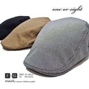 one or eight / ワンオアエイト 大きいサイズ対応 ツイルコットン千鳥格子柄 サイドベルト ハンチング メンズ レディース 帽子 ゴルフ  XL FREE|auc-mark
