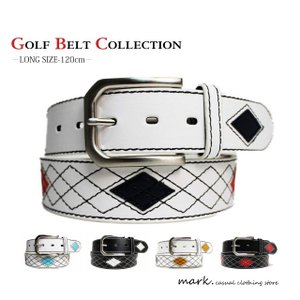 アーガイルチェックステッチラインベルト大きいサイズ120cm全3色( ロングサイズ 長さ切断可能)ゴルフベルト|auc-mark