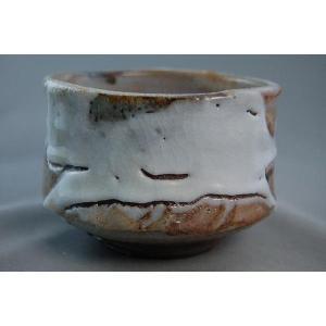 『焼締 志野焼 抹茶茶碗』 陶芸作家 荒川明作(ach-13) 木箱付き 【送料無料】 ギフト、還暦祝い、定年、退職祝い、結婚祝い、誕生日、贈り物に♪|auctogei