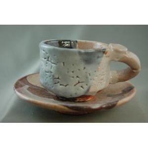 ako-14 志野焼  コーヒーカップ &ソーサー 送料無料 ギフト、還暦祝い、定年、退職祝い、結婚祝い、誕生日、お祝いの贈り物に♪|auctogei