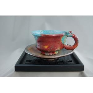 『楽焼 紅茶カップ&ソーサー陶芸作家 荒川明作(bko-19) 木箱付き こだわりのギフト、還暦祝い 送料無料|auctogei