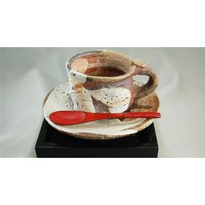『志野焼 コーヒーカップ &ソーサー』陶芸作家 荒川明 作(bko-4)木箱付き  【送料無料】 贈り物に♪|auctogei