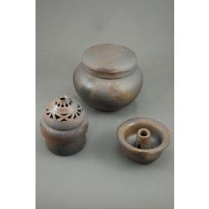 D-5  輝光窯変 小丸 3変化  花器 香炉 付き骨壷 5号|auctogei
