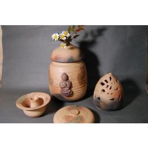 H3-3  焼き締め 骨壺 大長4変化 香炉、花器、壺付き 7号 送料無料|auctogei