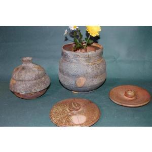 H3-4    焼き締め 大長4変化 水指、花器、壺付き 骨壺 7号|auctogei