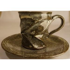藁灰釉面取 コーヒーカップ ソーサー 陶磁器 上野焼 天神窯 Agano-yaki Tenjingama ceramic cup|audio-mania