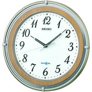 SEIKO CLOCK(セイコークロック) 掛け時計 衛星 電波 アナログ SPACE LINK スペースリンク 薄茶 木目 模様 GP206B|新品|audio-mania