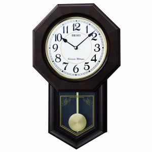 SEIKO CLOCK(セイコークロック) 掛け時計 アナログ 報時選択式 チャイム&ストライク 飾り振り子 八角尾長 木枠 濃茶 木地 RQ325B |新品|audio-mania